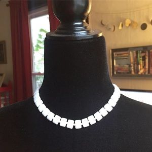 Vintage Milk Glass White Beaded Collar Necklace